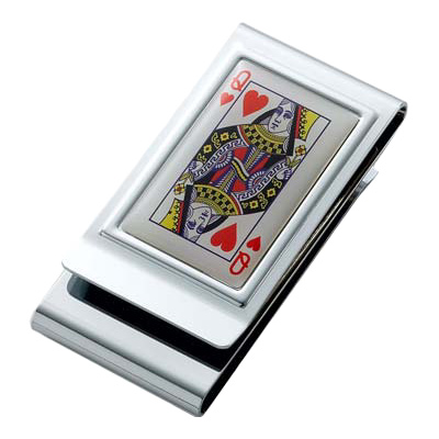 Queen of Hearts Stainless Steel Chrome Plated Two Sided Money Clip