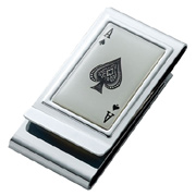 Ace of Spades Stainless Steel Chrome Plated Two Sided Money Clip