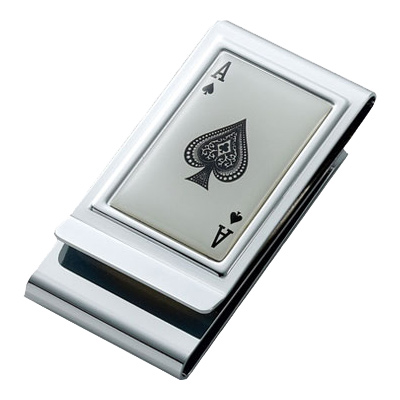 Ace of Spades Epxoy Stainless Steel Chrome Plated Two Sided Money Clip