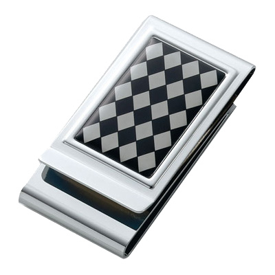 Argyle Patterned Epxoy Stainless Steel Chrome Plated Two Sided Money Clip