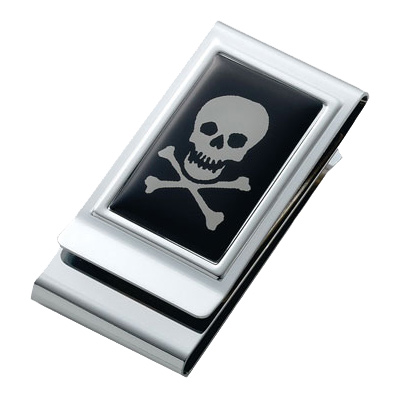 Skull & Bones Epoxy Stainless Steel Chrome Plated Two Sided Money Clip