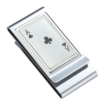 Ace of Clovers Stainless Steel Chrome Plated Two Sided Money Clip