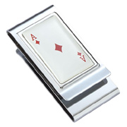 Ace of Diamonds Epoxy Stainless Steel Chrome Plated Two Sided Money Clip